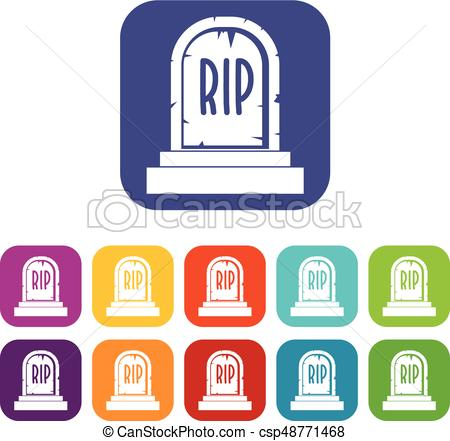 450x441 Gravestone With Rip Text Icons Set Flat. Gravestone With Rip