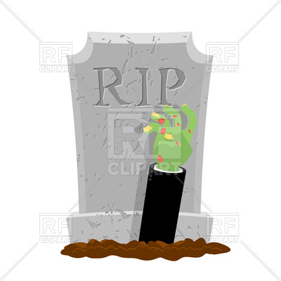 400x400 Halloween. Grave And Hand Of Zombie. Gravestone And Arm Dead Man