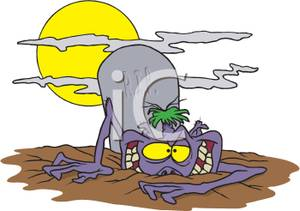 300x211 Cartoon Of A Monster Coming Out Of The Ground In A Graveyard