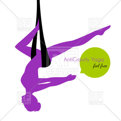 400x400 Silhouette Of Woman In Anti Gravity Yoga Poses Royalty Free Vector