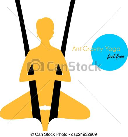 439x470 Vector Illustration Of Anti Gravity Yoga Poses Woman Clip Art