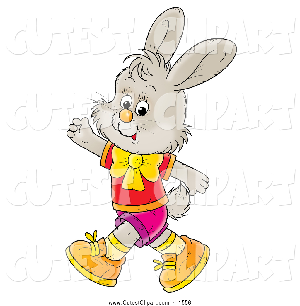 1024x1044 Clip Art Of A Cheerful Gray Bunny In Clothes, Walking On His Hind