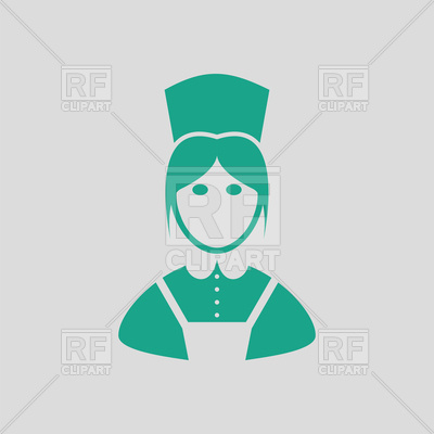 400x400 Hotel Maid Icon On Gray Background, Housekeeper Royalty Free