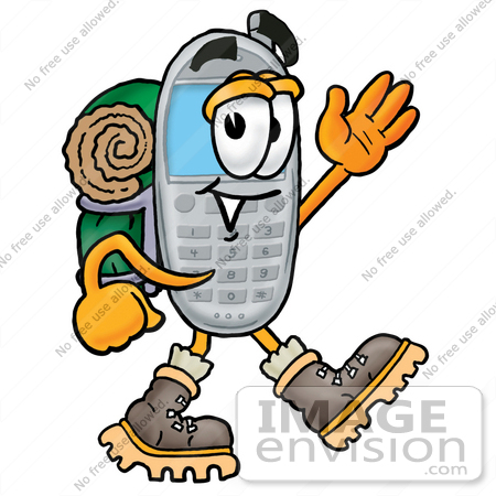 450x450 Clip Art Graphic Of A Gray Cell Phone Cartoon Character Hiking