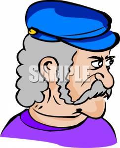 243x300 Clip Art Image A Glaring Man With Gray Hair