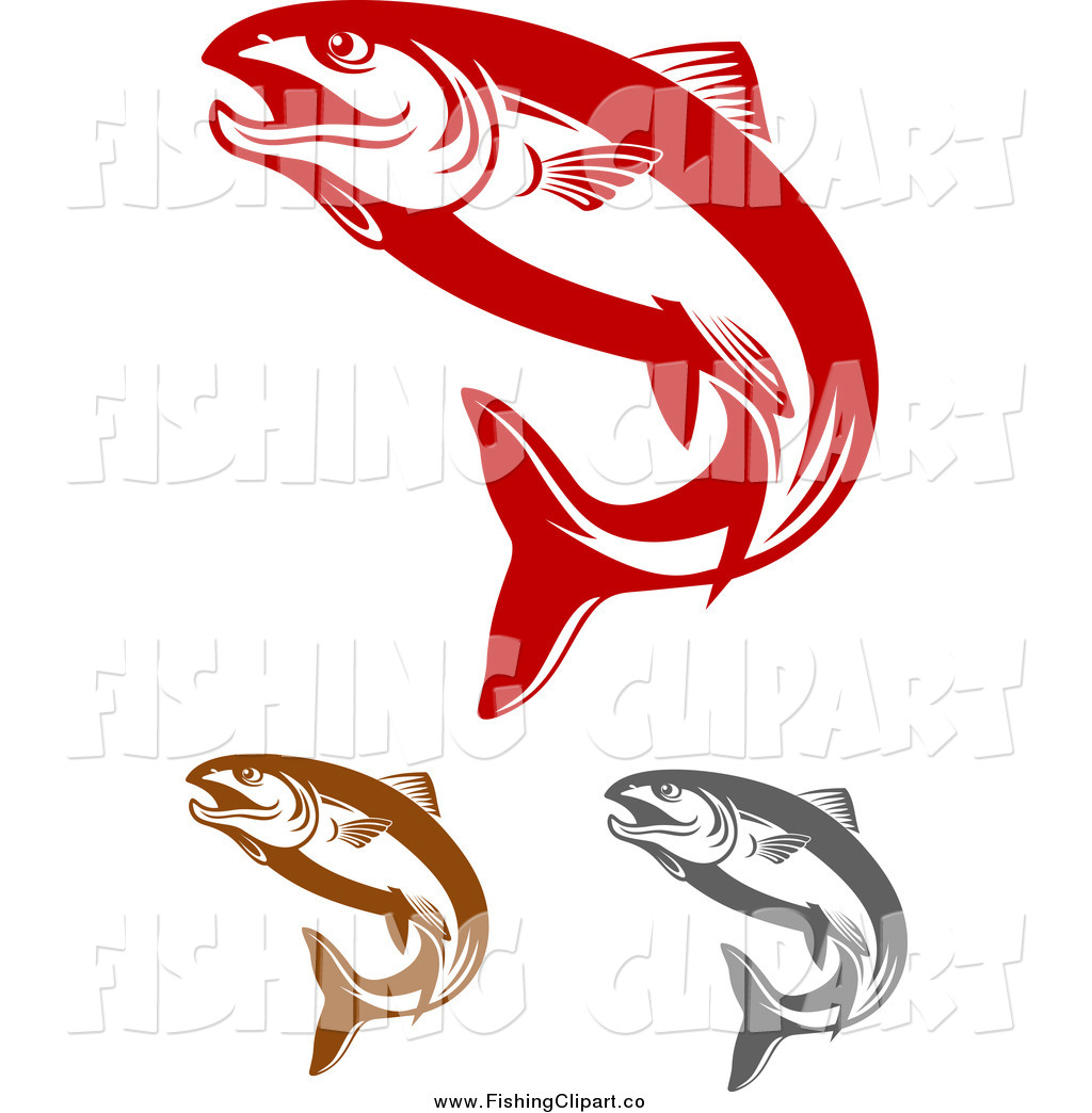 1024x1044 Clip Art Of Red Brown And Gray Salmon Fish Jumping By Vector