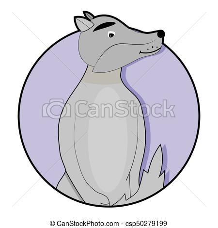 450x470 Sticker Cartoon Wolf Icon. Cartoon Dog And Wolf. Vector Eps