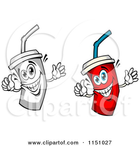 450x470 Clipart Of Happy Red And Grayscale Fountain Drink Cup Mascot