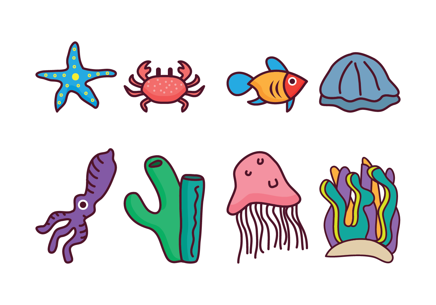 1400x980 Coral Free Vector Art