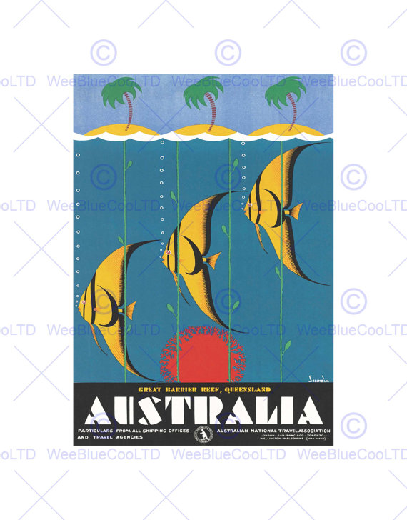 570x728 Travel Advert Great Barrier Reef Queensland Australia Poster