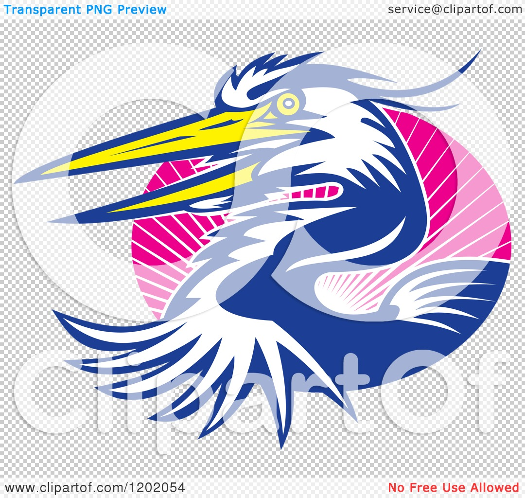 1080x1024 Clipart Of A Great Blue Heron Bird Emerging From An Oval Of Pink