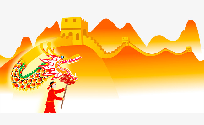 650x400 Chinese Traditional Architecture, Cartoon Great Wall, Dragon Dance