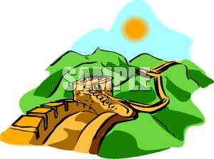 300x224 Clipart Image The Great Wall Of China On A Sunny Day