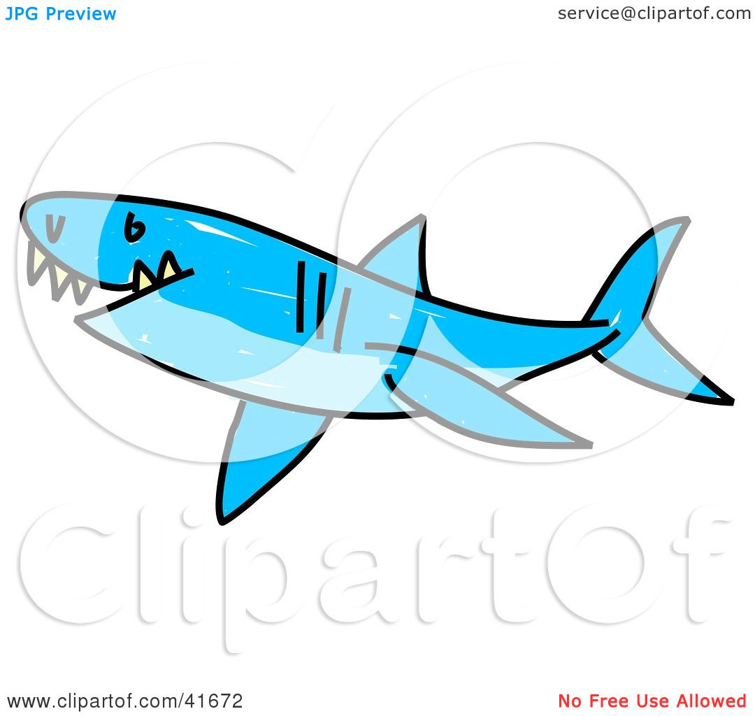 1080x1024 Clipart Illustration Of A Sketched Blue Shark By Prawny