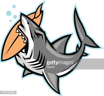 433x398 Shark Bite A Surfboard Premium Clipart