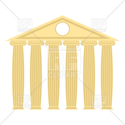 400x400 Greek Temple With Columns And Roof Royalty Free Vector Clip Art