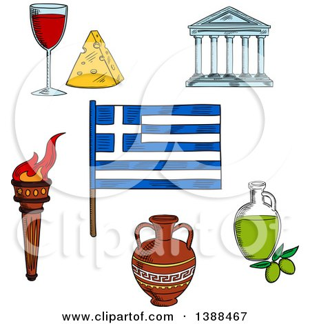 450x470 Clipart Of A Sketched Greek Flag, Flaming Torch, Ceramic Amphora