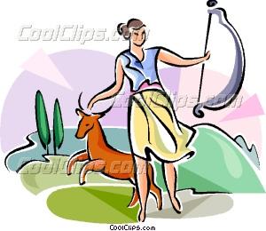 300x260 Greek Mythology Diana Vector Clip Art