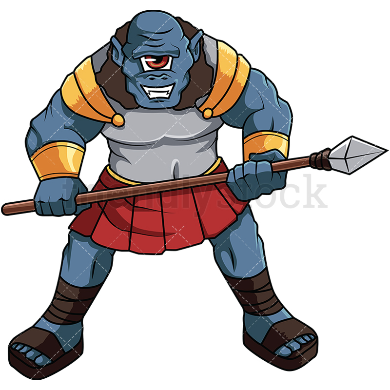 800x800 Greek Cyclops Warrior Cartoon Vector Clipart