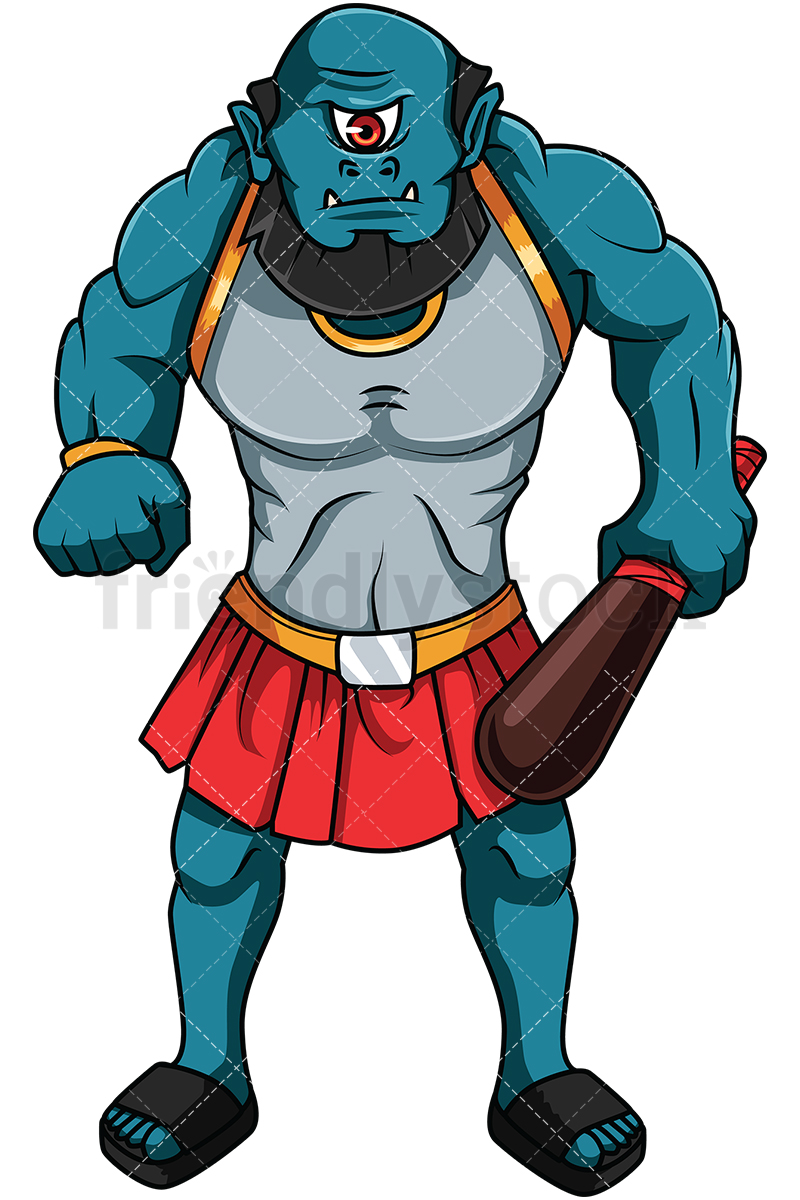 800x1200 Greek Cyclops With Bat Cartoon Vector Clipart