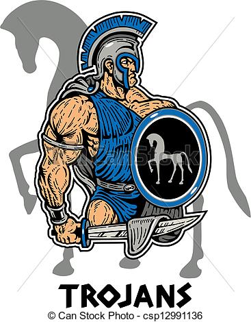 367x470 Muscular Trojan With Sword And Shield Vectors