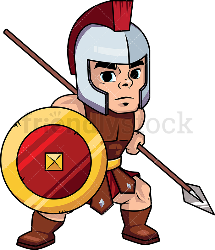 684x796 Roman Spearman Warrior With Shield Vector Cartoon Clipart