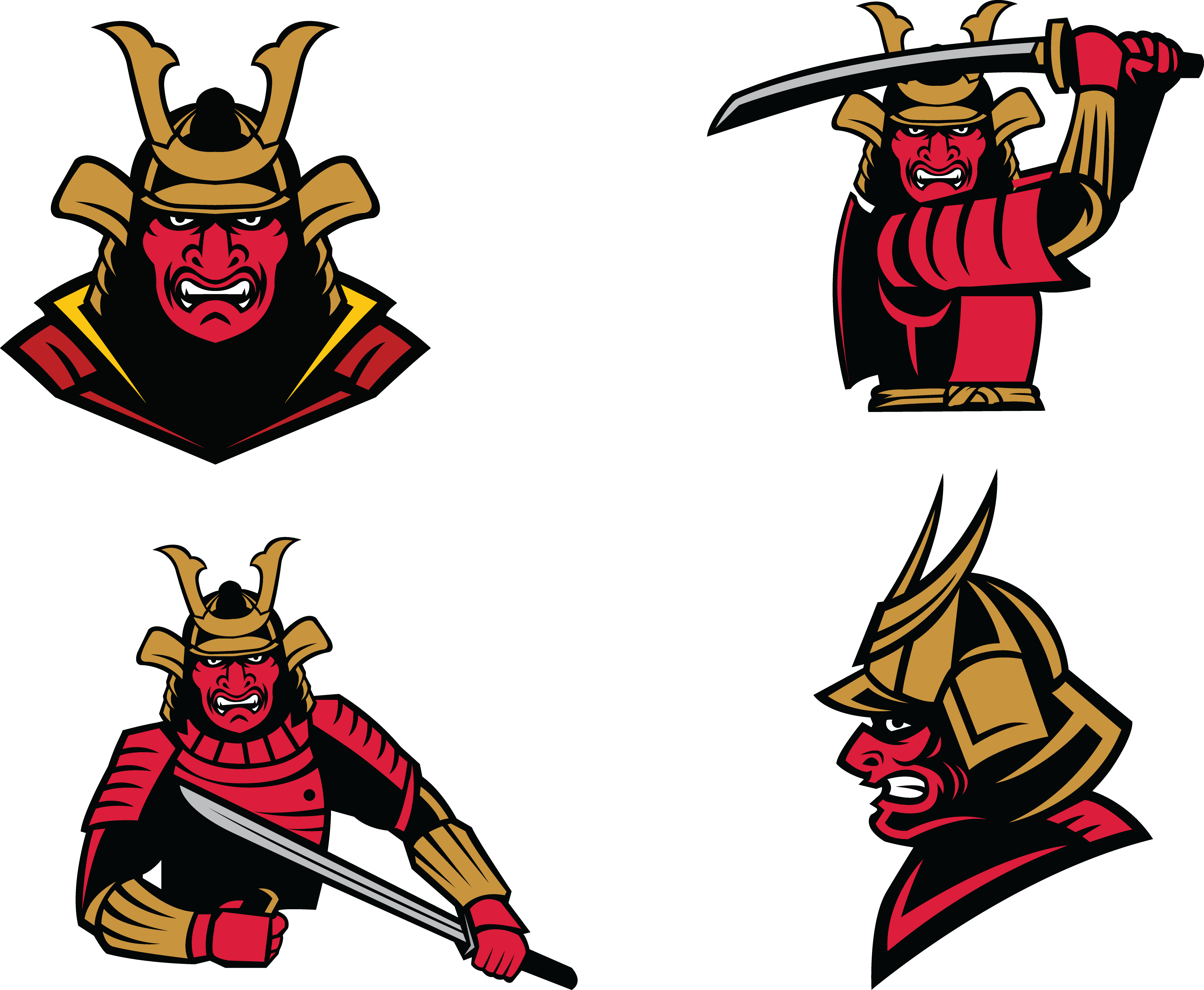 4276x3518 Warrior Samurai Soldier Clip Art