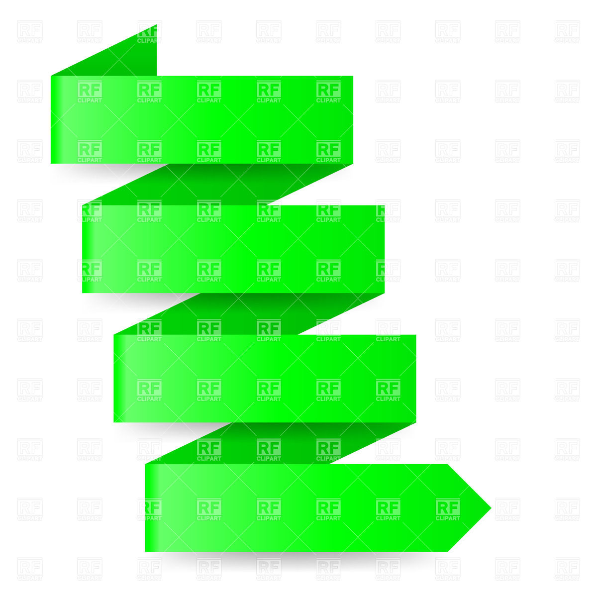 1200x1200 Green Paper Arrow In Zigzag Shape Royalty Free Vector Clip Art
