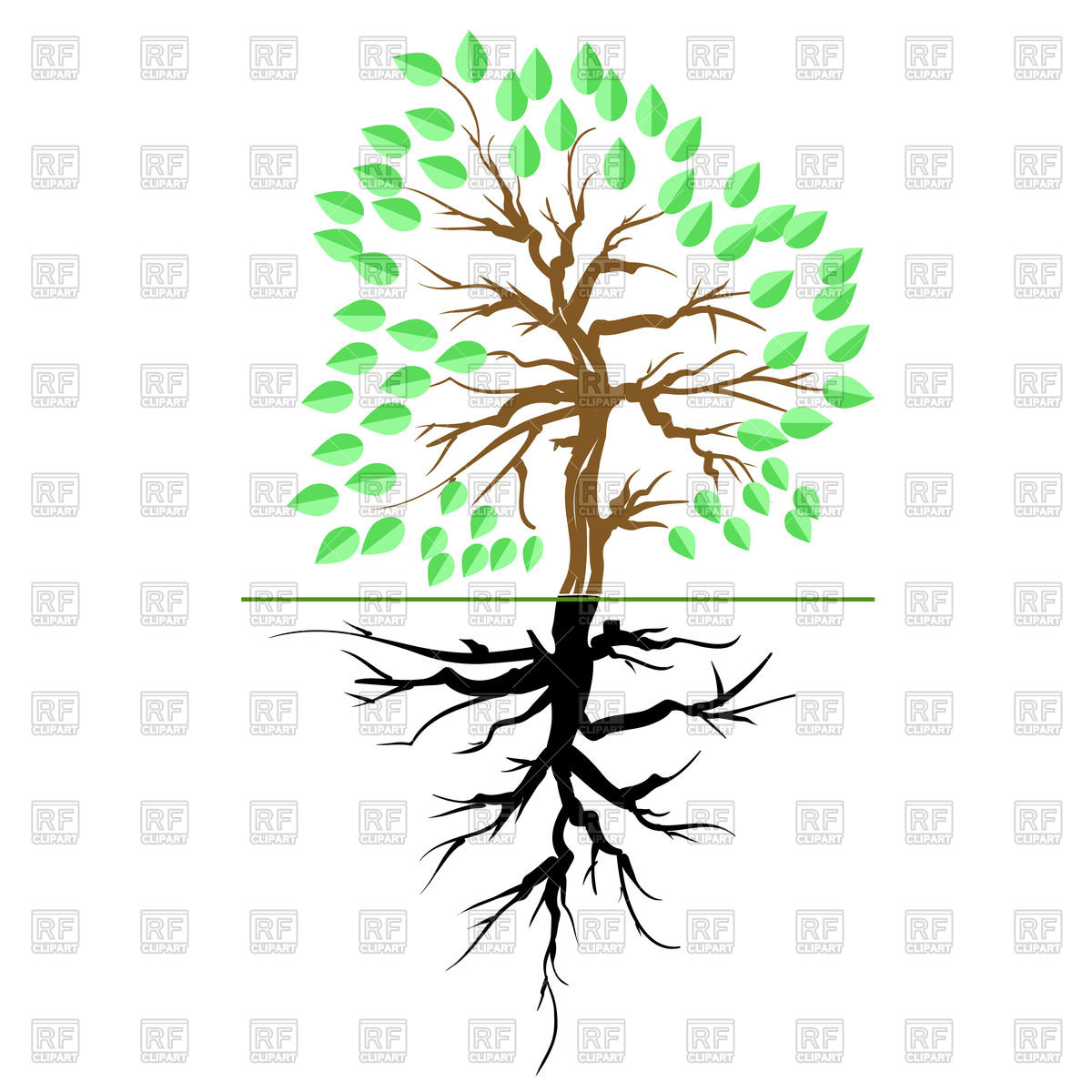 1200x1200 Green Tree With Root Royalty Free Vector Clip Art Image