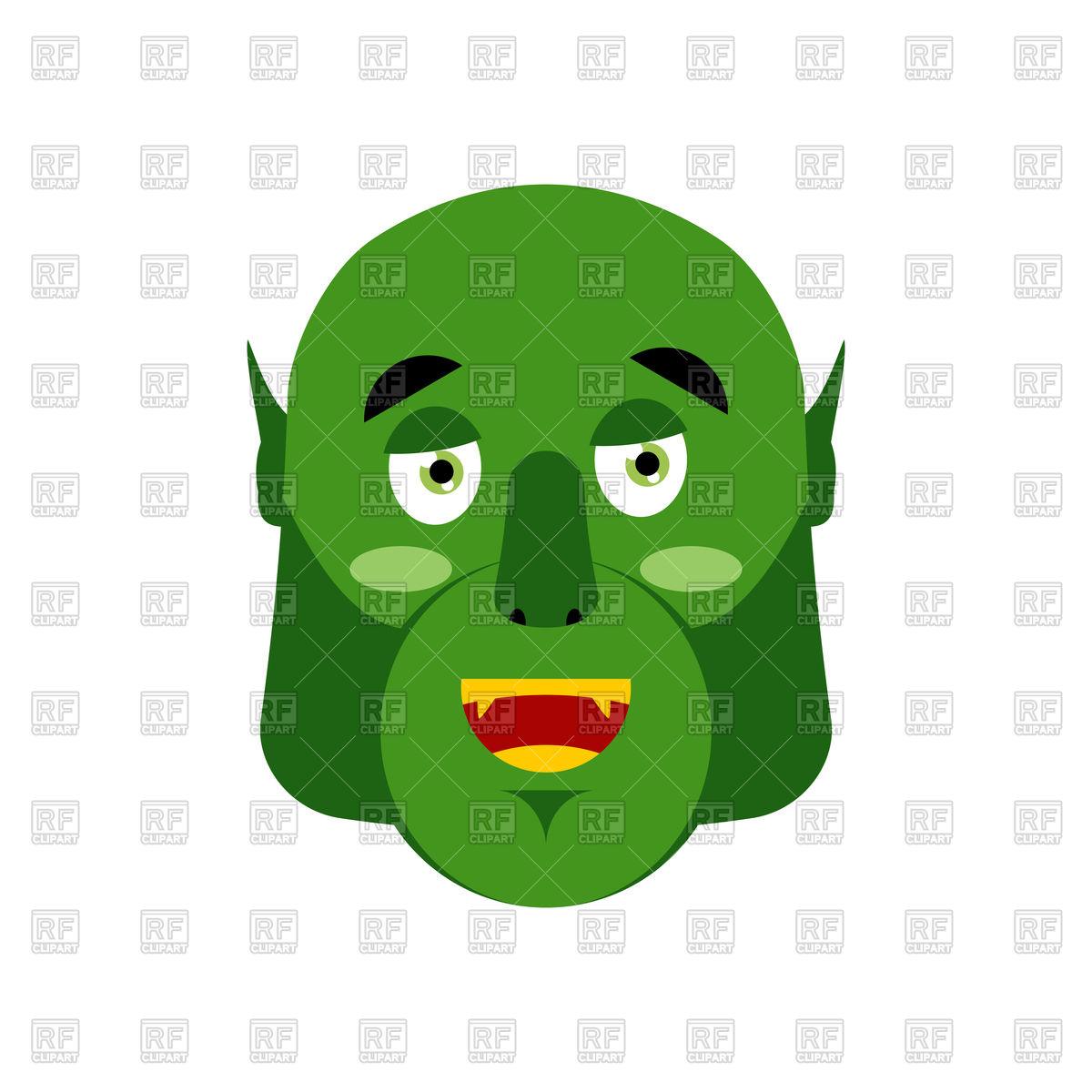 1200x1200 Ogre Happy Emoji. Goblin Merry Emotion. Royalty Free Vector Clip