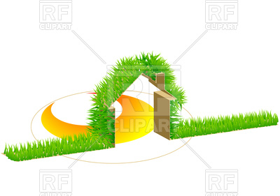 400x281 Home And Green Grass Background Royalty Free Vector Clip Art Image