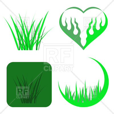 400x400 Set Of Green Grass Icons Royalty Free Vector Clip Art Image