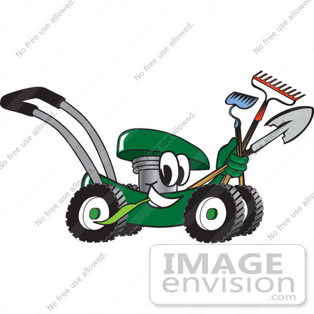 450x450 Clip Art Graphic Of A Green Lawn Mower Mascot Character Smiling