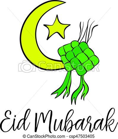 398x470 Eid Mubarak Theme Cute Greeting Card Vector Illustration Vector
