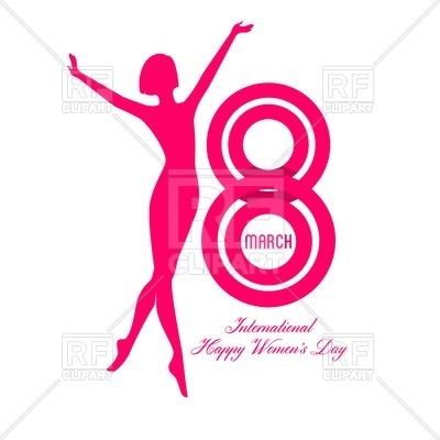 400x400 Happy Women Day Greeting Card With Silhouette Of Woman Royalty