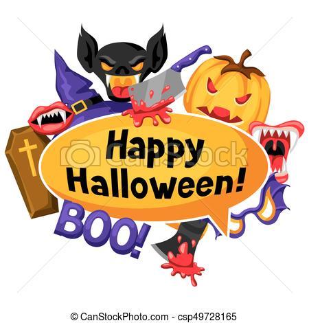 450x470 Happy Halloween Background With Cartoon Holiday Symbols . Clip
