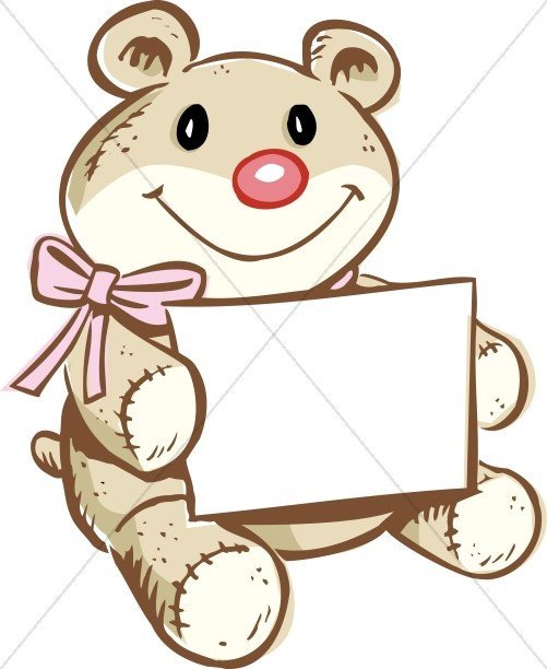 501x612 Bear Holding Greeting Card Religious Baby Clipart