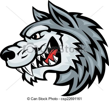 450x419 Cartoon Angry Wolf Head Isolated On White Background. Vector