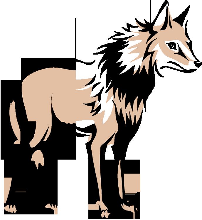 688x750 Howling Cartoon Wolf