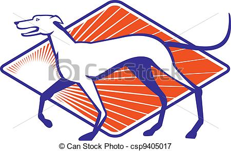 450x294 Greyhound Dog Walking Side Retro. Illustration Of A Vectors
