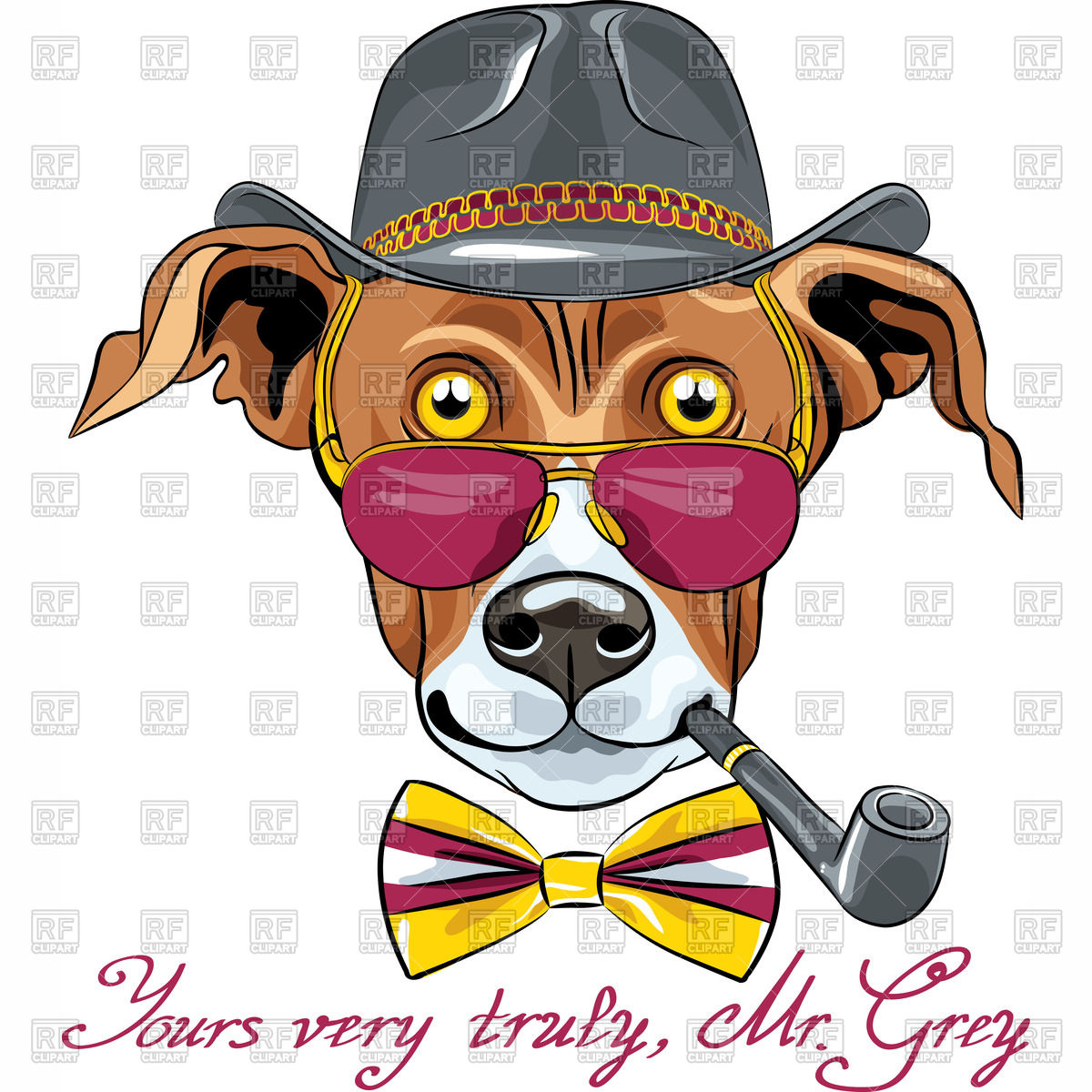 1200x1200 Hipster Greyhound Dog With Tobacco Pipe In A Hat, Glasses And Bow