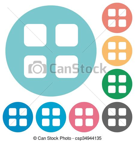 450x470 Flat Large Grid Icons. Flat Large Grid Icon Set On Round