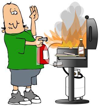 325x350 Cartoon Of A Dad Putting A Grill Fire