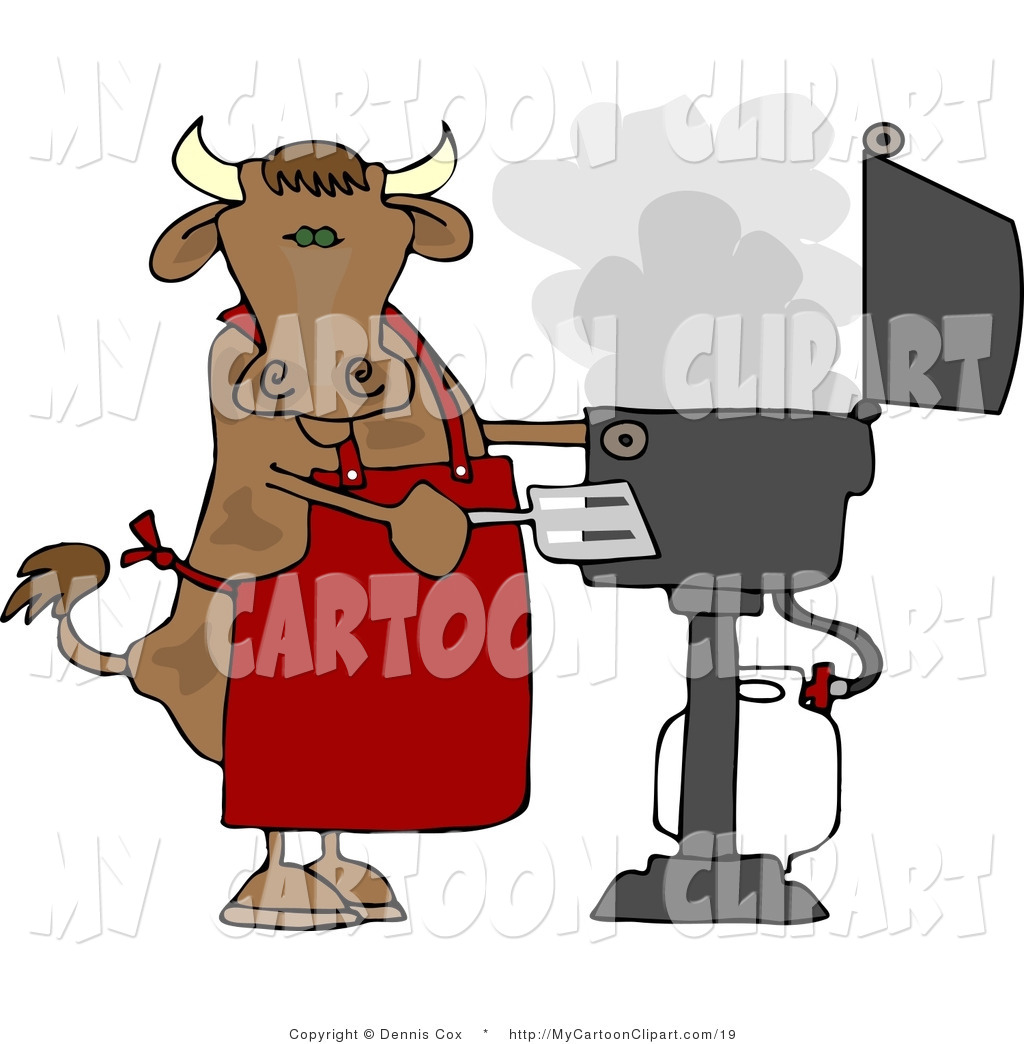 1024x1044 Clip Art Of A Cow With A Spatula Cooking On A Propane Bbq Grill By
