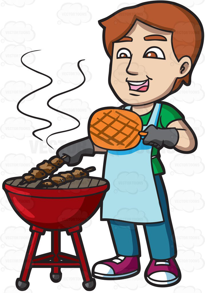 717x1024 A Man Cooking Barbecue On The Grill Cartoon Clipart Vector Toons