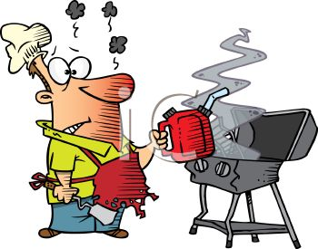 350x275 Royalty Free Clip Art Image Cartoon Of A Dad Starting A Grill