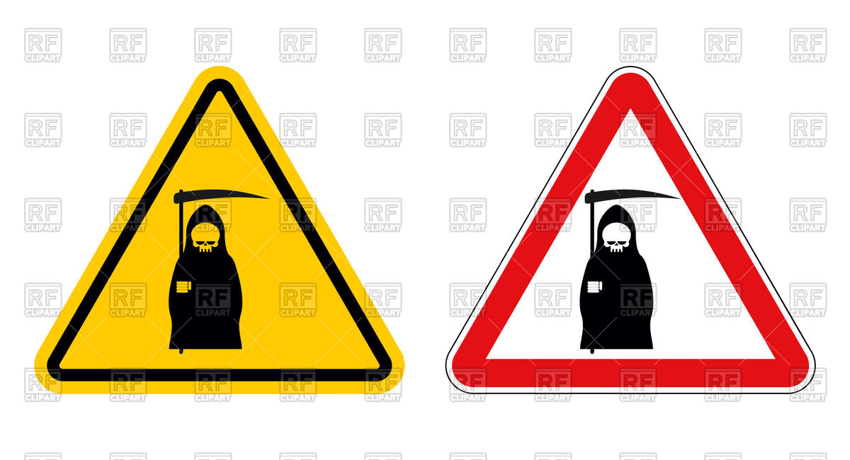 1200x650 Ttriangular Warning Sign With Death Or Grim Reaper On White