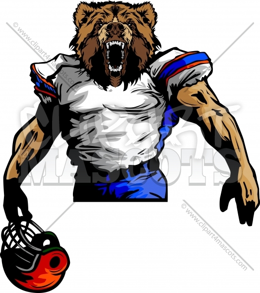 524x590 Grizzly Bear Football Mascot Graphic Vector Cartoon