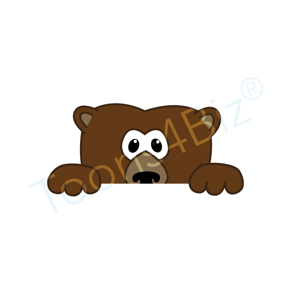 1000x1000 Grizzly Bear Mascot Peeking Over Clip Art