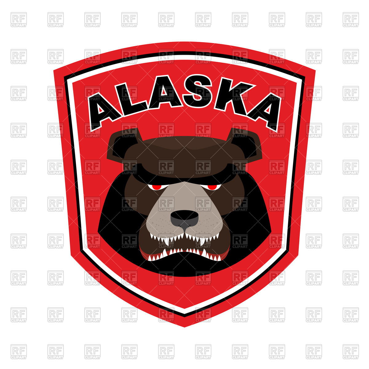 1200x1200 Alaska Grizzly Mascot. Bear Emblem Sign. Royalty Free Vector Clip